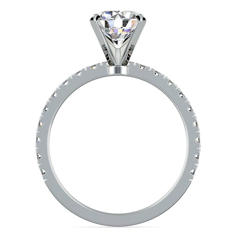 Petite Pave Diamond Engagement Ring in White Gold (1/3 ctw) | 02