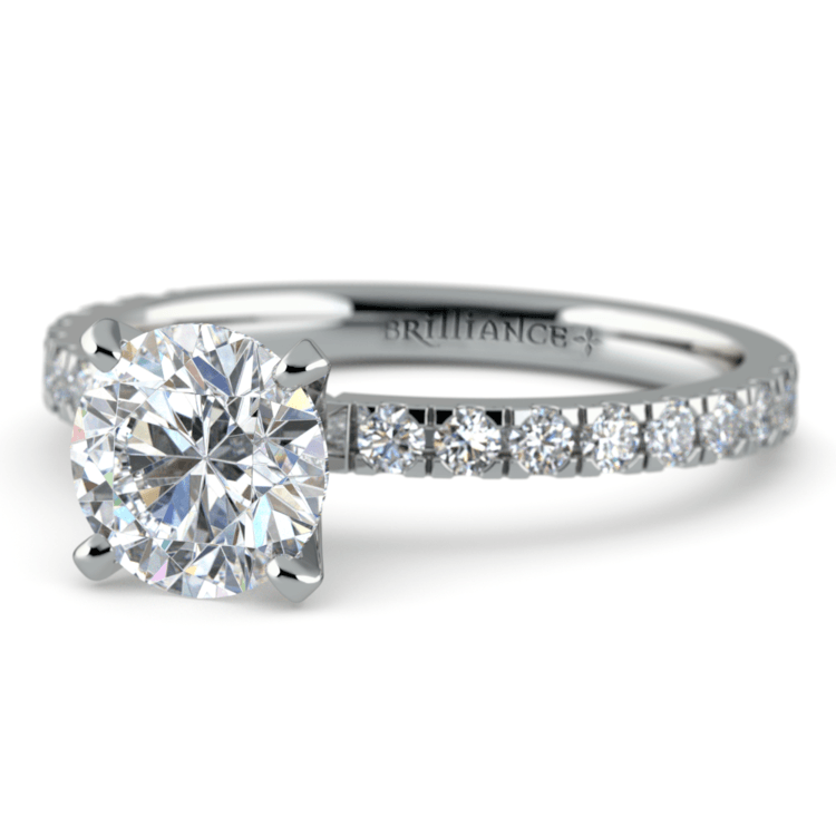 Petite Pave Diamond Engagement Ring in White Gold (1/3 ctw) | 04