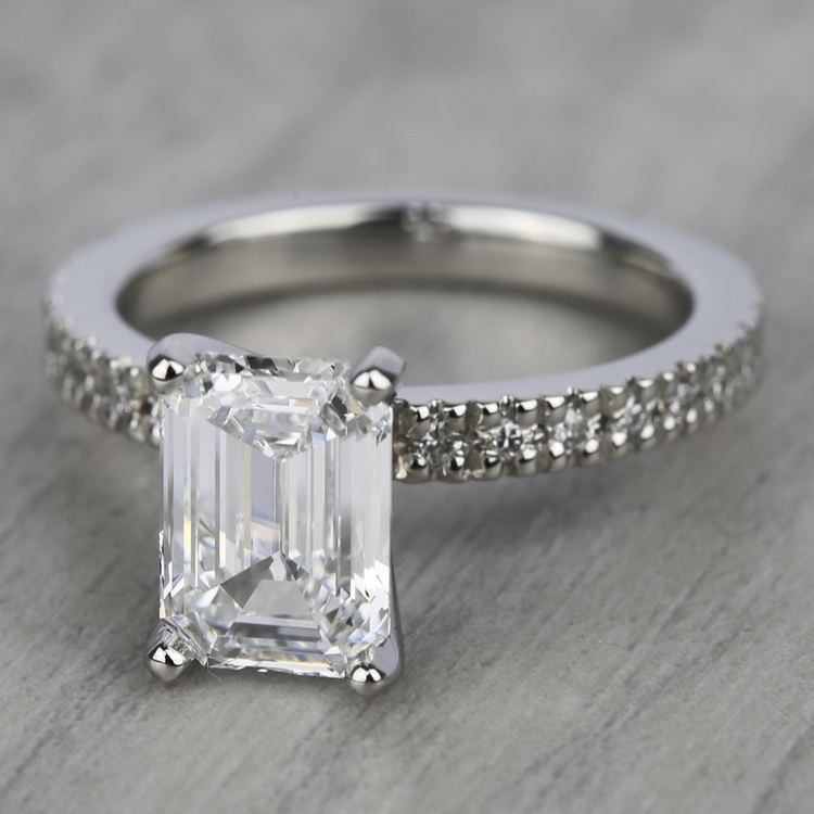 Petite Pave Diamond Engagement Ring in White Gold (1/3 ctw) | 05