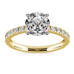 Petite Pave Diamond Engagement Ring in Yellow Gold (1/3 ctw) | Thumbnail 01