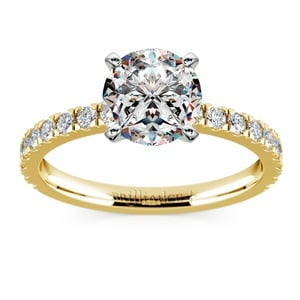 Petite Pave Diamond Engagement Ring in Yellow Gold (1/3 ctw)