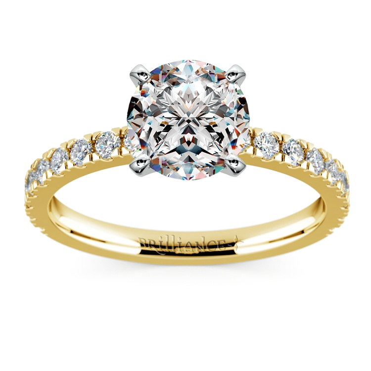 Petite Pave Diamond Engagement Ring in Yellow Gold (1/3 ctw) | 01