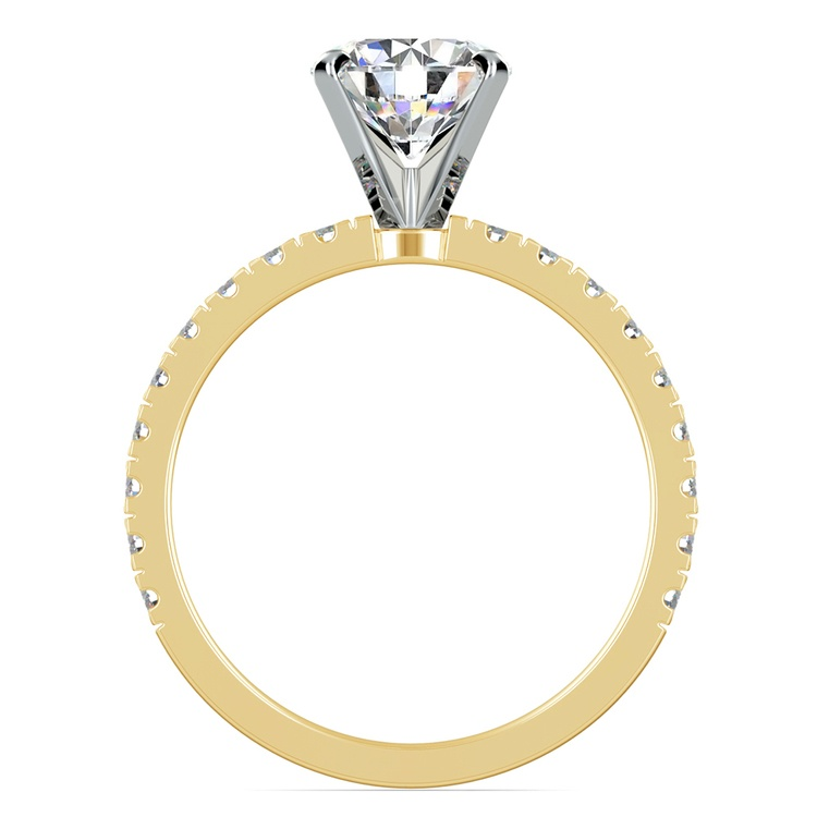 Petite Pave Diamond Engagement Ring in Yellow Gold (1/3 ctw) | 02