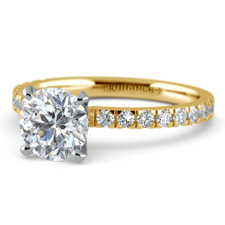 Petite Pave Diamond Engagement Ring in Yellow Gold (1/3 ctw) | 04