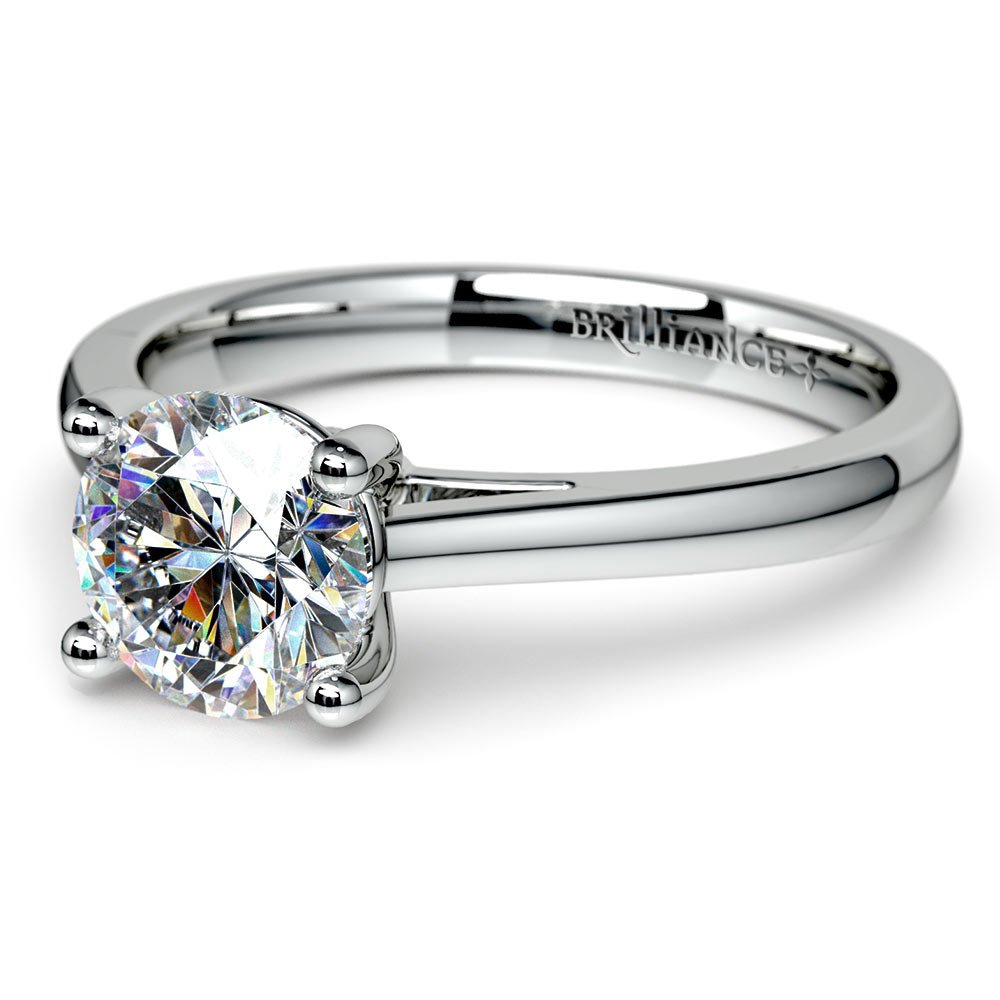 Petite Round Moissanite Engagement Ring in White Gold (6.5 mm)