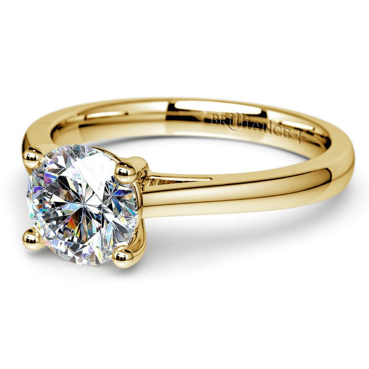 Petite Round Moissanite Engagement Ring in Yellow Gold (7.5 mm) | 01