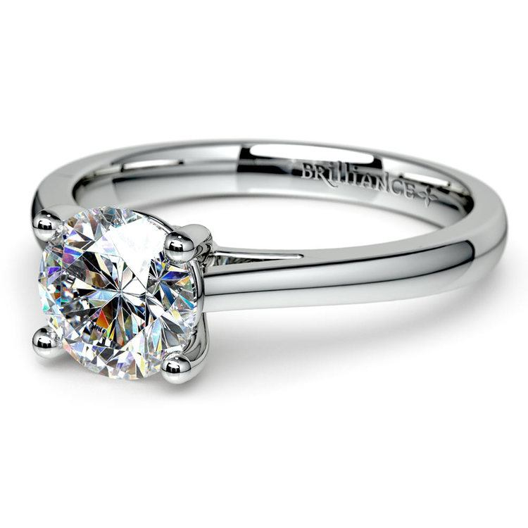 Petite Round Moissanite Engagement Ring in White Gold (8 mm) | 01