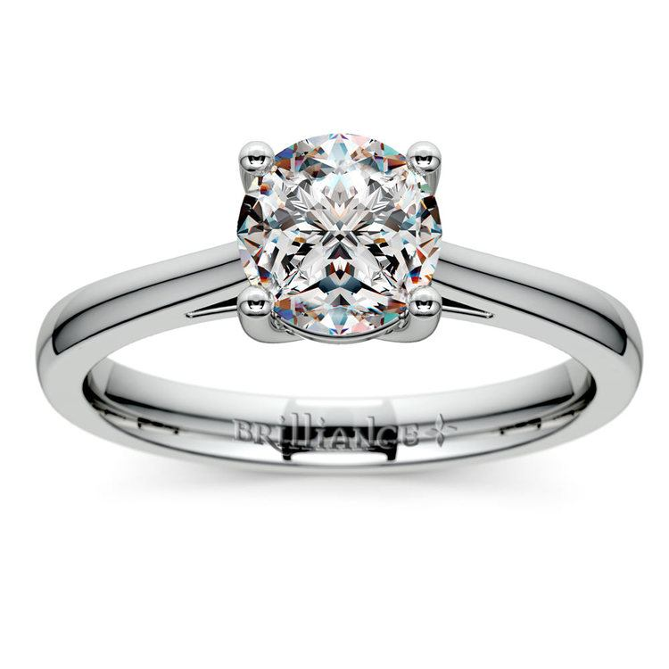 Petite Round Moissanite Engagement Ring in White Gold (8 mm) | 02