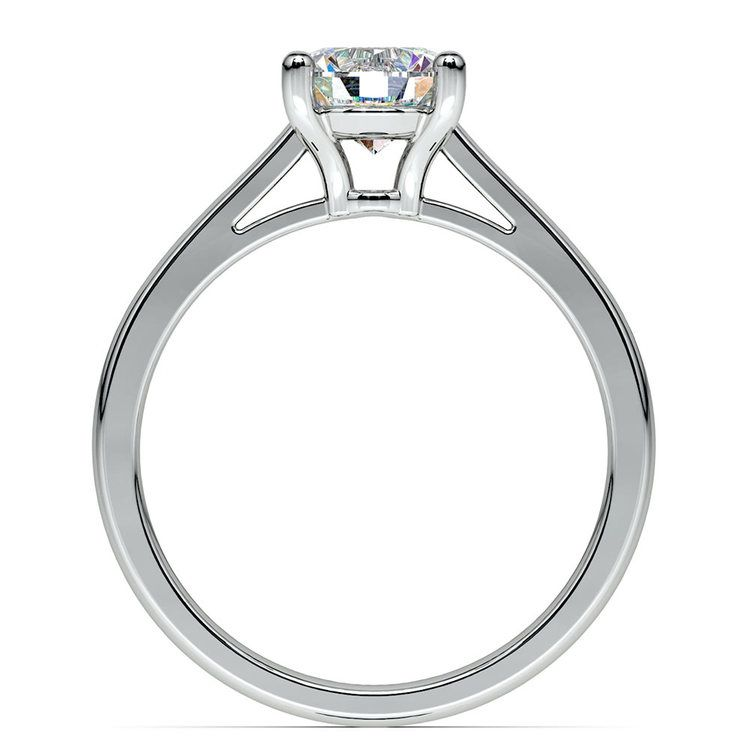 Petite Round Moissanite Engagement Ring in White Gold (8 mm) | 04