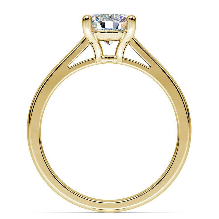 Petite Round Moissanite Engagement Ring in Yellow Gold (8 mm) | 04
