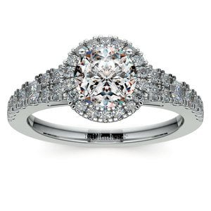 Petite Split Shank Halo Diamond Engagement Ring in Platinum