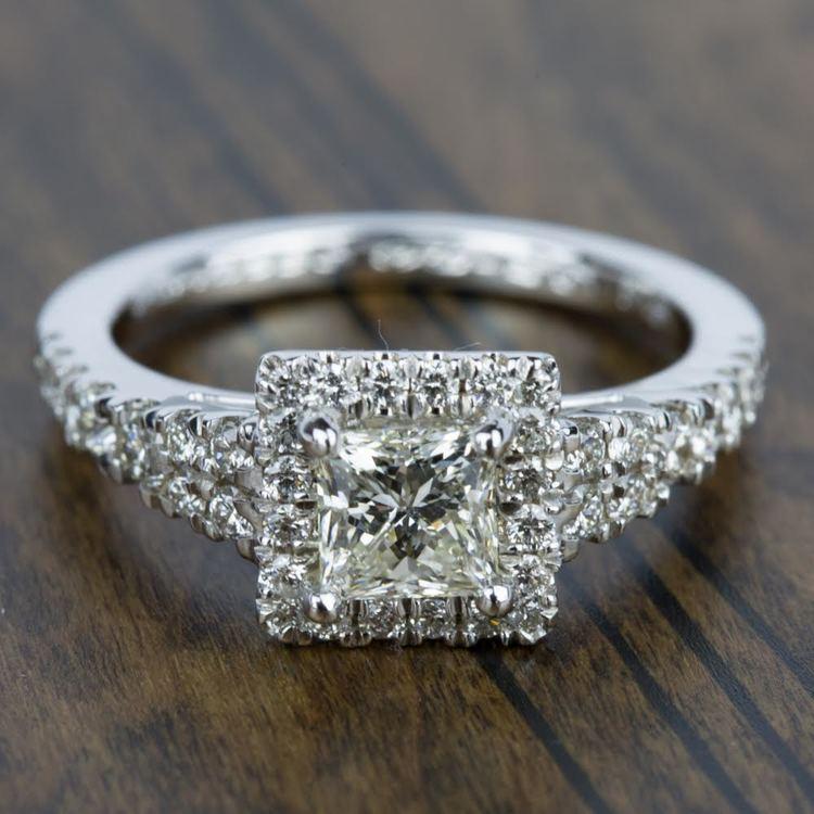 Petite Split Shank Halo Diamond Engagement Ring in Platinum | 05