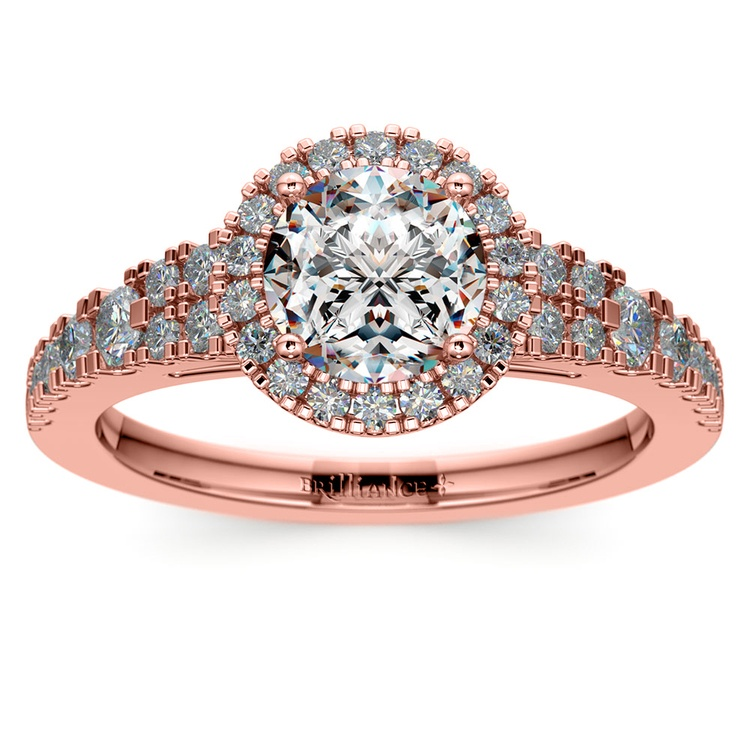 Petite Split Shank Halo Diamond Engagement Ring in Rose Gold | 01