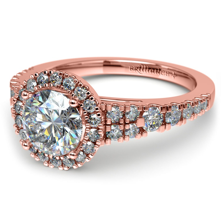 Petite Split Shank Halo Diamond Engagement Ring in Rose Gold | 04