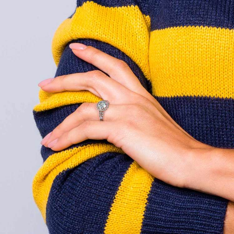 Petite Split Shank Halo Diamond Engagement Ring in Rose Gold | 06