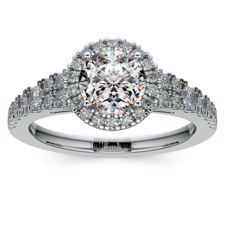Petite Split Shank Halo Diamond Engagement Ring in White Gold | 01