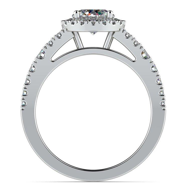 Petite Split Shank Halo Diamond Engagement Ring in White Gold | 02