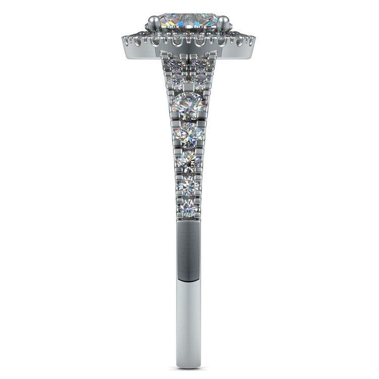 Petite Split Shank Halo Diamond Engagement Ring in White Gold | 03