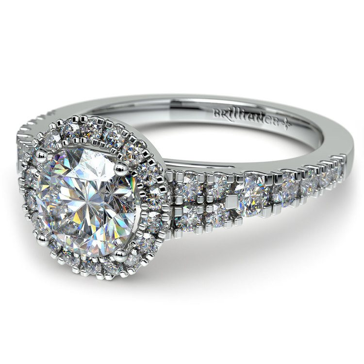Petite Split Shank Halo Diamond Engagement Ring in White Gold | 04