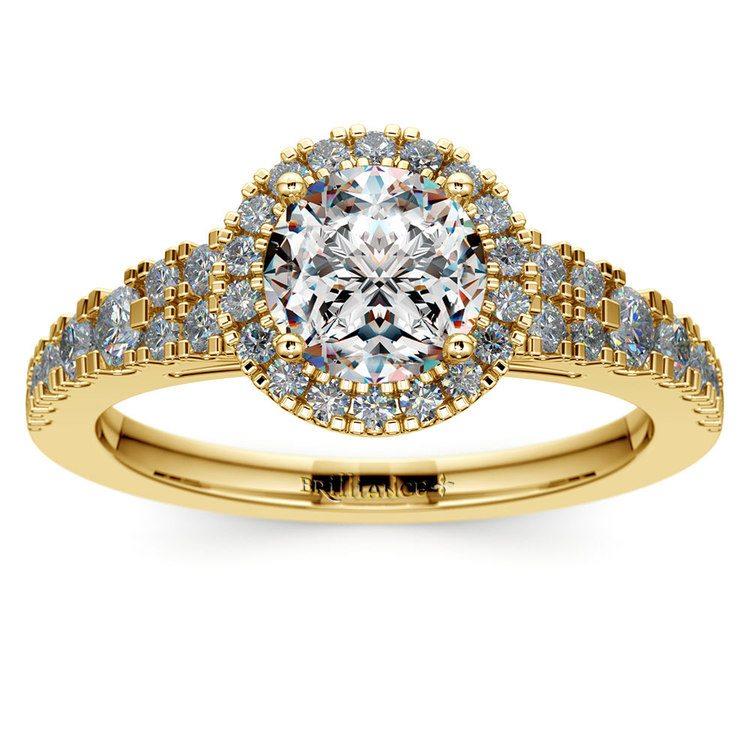 Petite Split Shank Halo Diamond Engagement Ring in Yellow Gold | 01