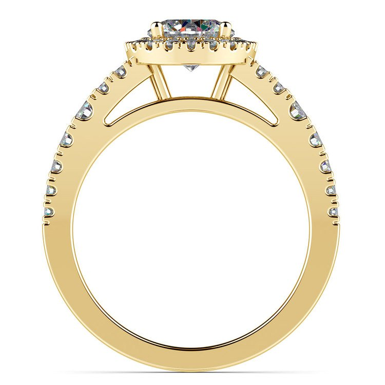 Petite Split Shank Halo Diamond Engagement Ring in Yellow Gold | 02