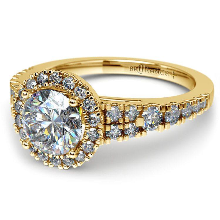 Petite Split Shank Halo Diamond Engagement Ring in Yellow Gold | 04