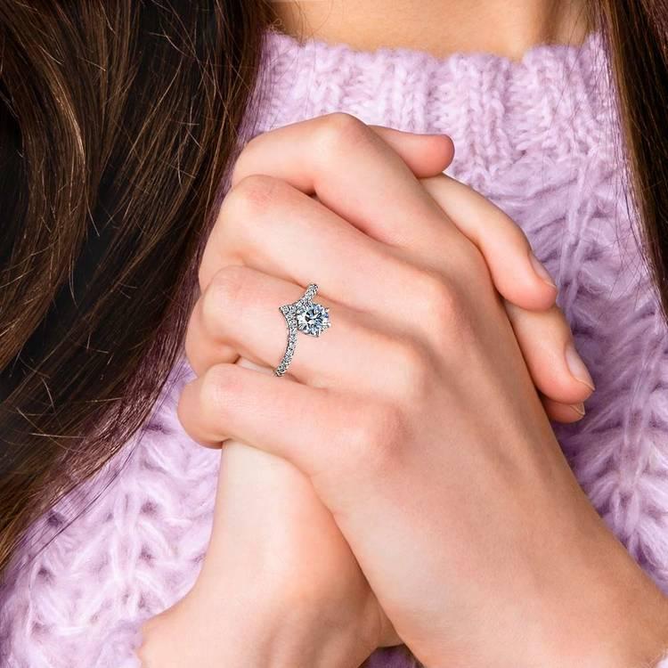 Platinum Chevron Diamond Engagement Ring | 06