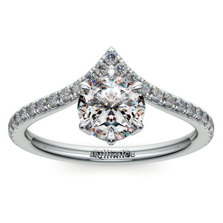 Platinum Chevron Diamond Engagement Ring | 01