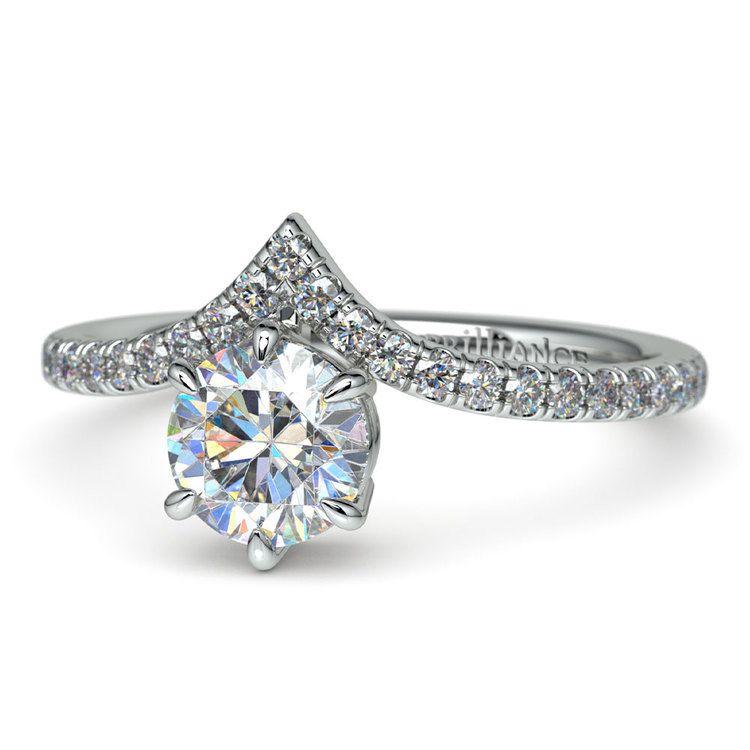 Platinum Chevron Diamond Engagement Ring | 04
