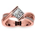 Princess Bezel Diamond Bridge Engagement Ring In Rose Gold | Thumbnail 01
