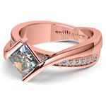 Princess Bezel Diamond Bridge Engagement Ring In Rose Gold | Thumbnail 04
