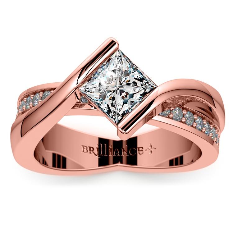 Princess Bezel Diamond Bridge Engagement Ring In Rose Gold | 01