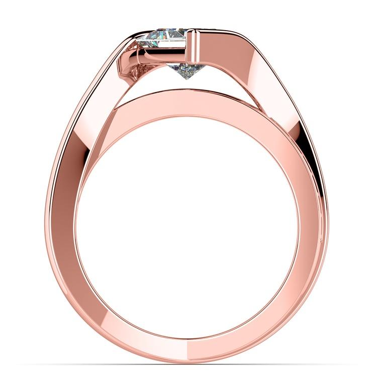 Princess Bezel Diamond Bridge Engagement Ring In Rose Gold | 02