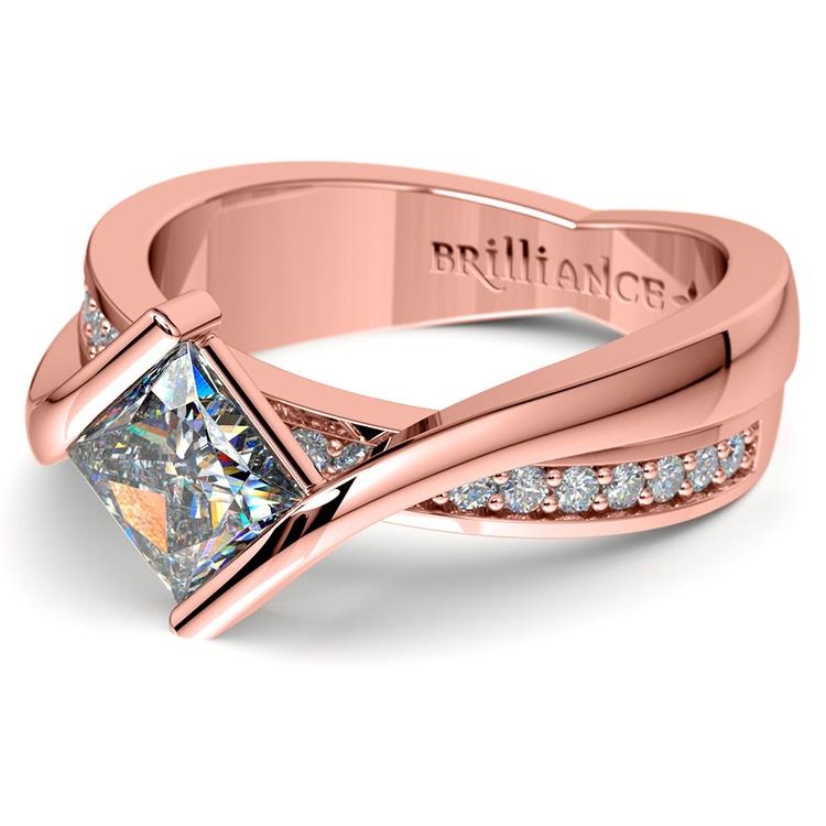 Princess Bezel Diamond Bridge Engagement Ring In Rose Gold | 04