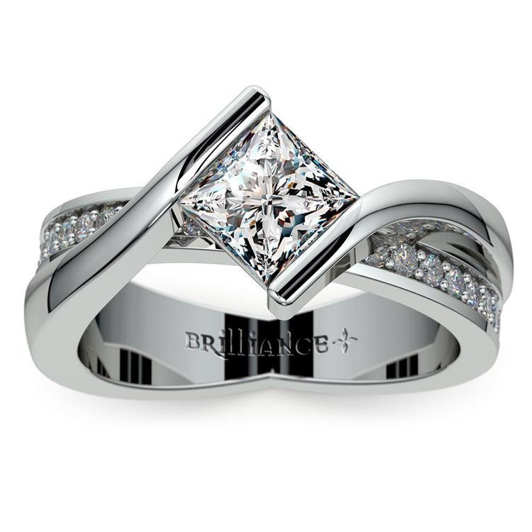 Princess Bezel Diamond Bridge Engagement Ring in White Gold | 01