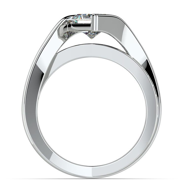 Princess Bezel Diamond Bridge Engagement Ring in White Gold | 02