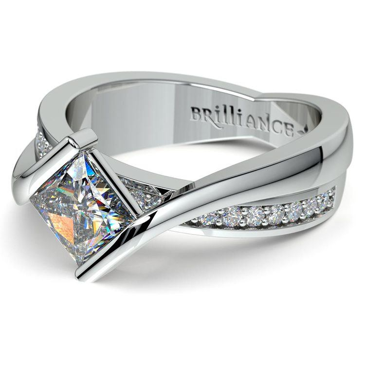 Princess Bezel Diamond Bridge Engagement Ring in White Gold | 04