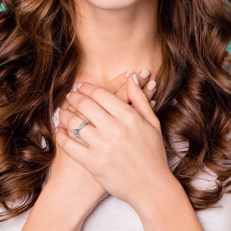 Princess Bezel Diamond Bridge Engagement Ring in White Gold   07