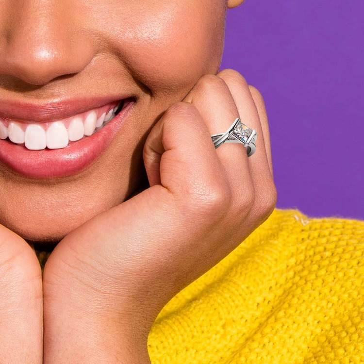 Princess Bezel Diamond Bridge Engagement Ring in White Gold | 07
