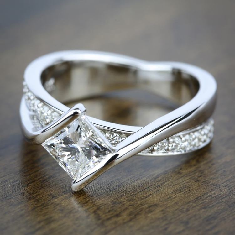 Princess Bezel Diamond Bridge Engagement Ring in White Gold | 05