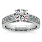 Princess Channel Diamond Engagement Ring in White Gold (1 ctw) | Thumbnail 01