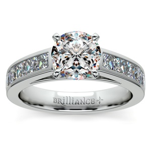 Princess Channel Diamond Engagement Ring in White Gold (1 ctw)