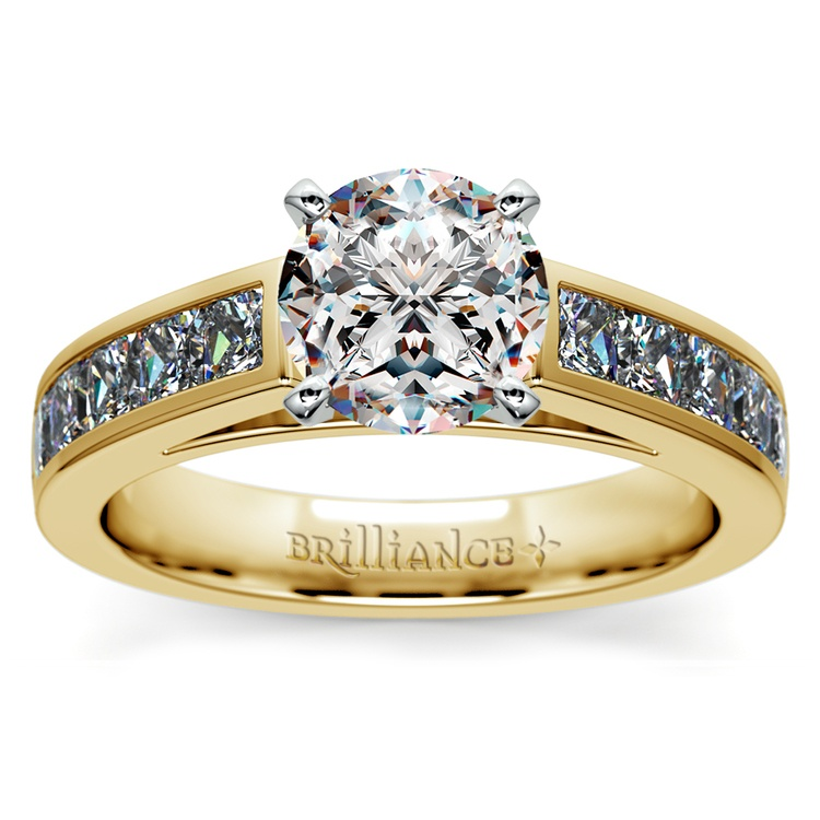 Princess Channel Diamond Engagement Ring in Yellow Gold (1 ctw) | 01
