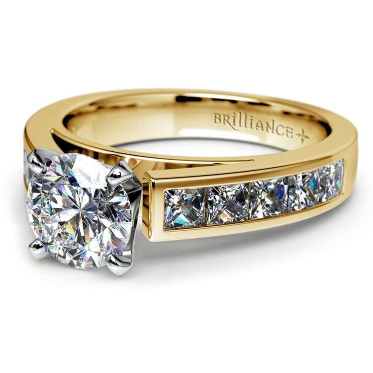 Princess Channel Diamond Engagement Ring in Yellow Gold (1 ctw) | 04