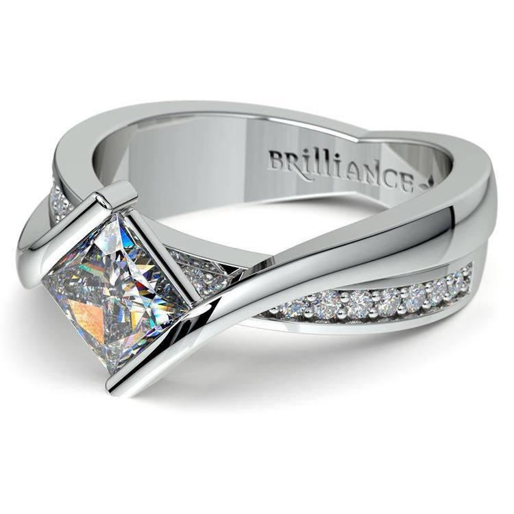 Princess Cut Bezel Set Engagement Ring (0.75 carat) | 01
