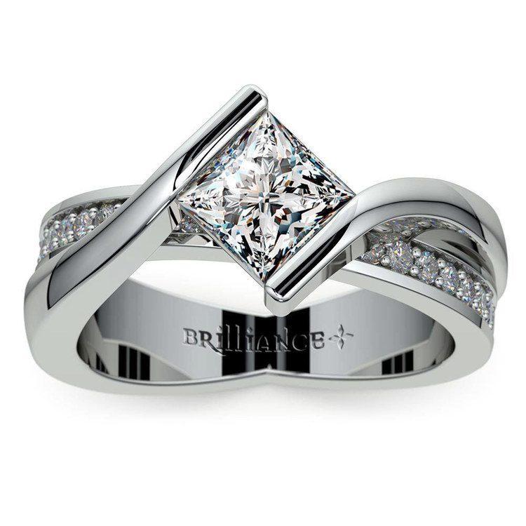 Princess Cut Bezel Set Engagement Ring (0.75 carat) | 02
