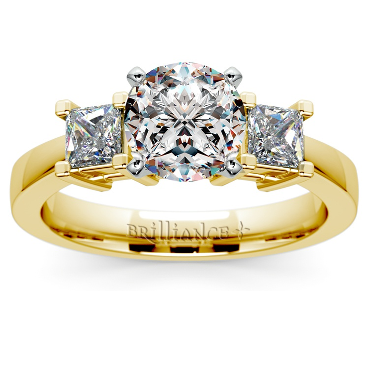Princess Diamond Engagement Ring in Yellow Gold (1/3 ctw) | 01