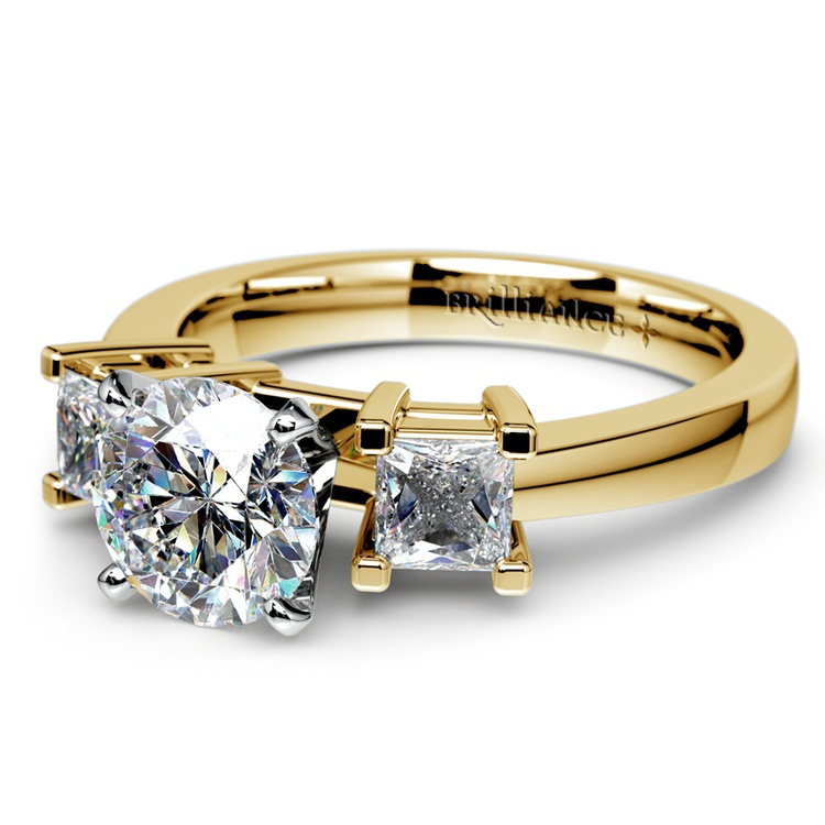 Princess Diamond Engagement Ring in Yellow Gold (1/3 ctw) | 04