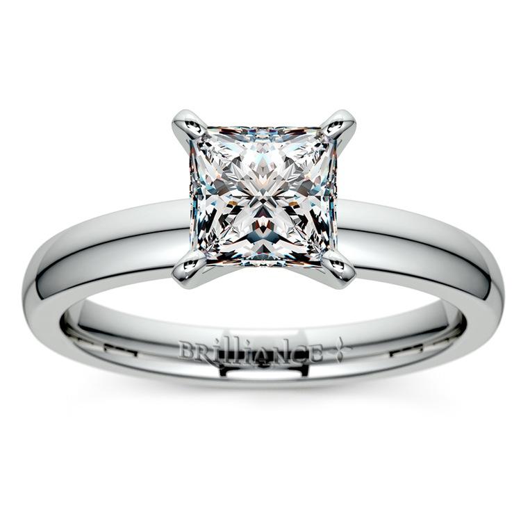 Princess Diamond Preset Engagement Ring in Platinum (1/3 ctw) | 02