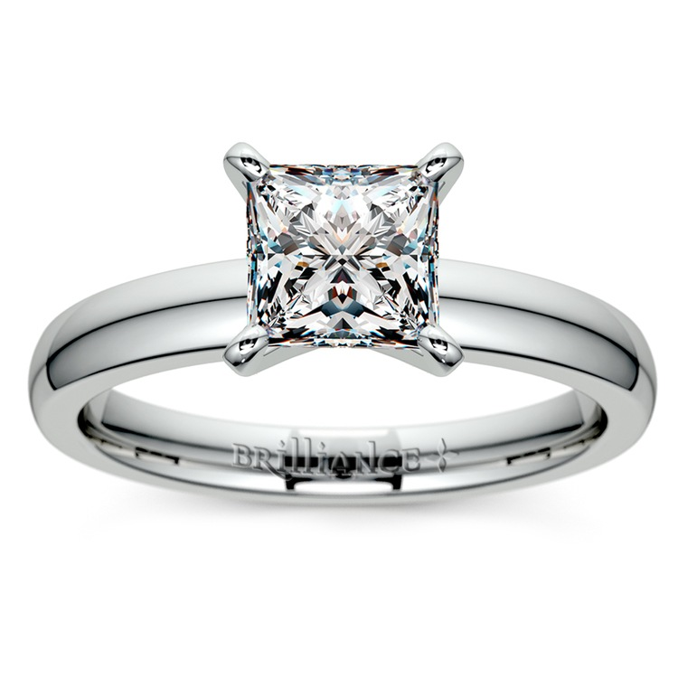 Princess Diamond Preset Engagement Ring in White Gold (1/3 ctw) | 02